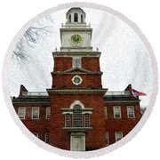 Independence Hall In Philadelphia Round Beach Towel