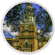 Independence Hall-philadelphia Round Beach Towel