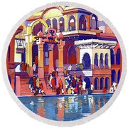 India, Indian State Railway Poster, Muttra Round Beach Towel