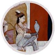 India: Lady & Hawk, C1570 Round Beach Towel