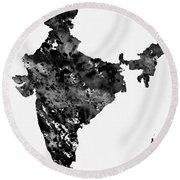 Map Of India-black Round Beach Towel