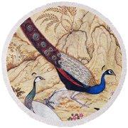 India: Peafowl, C1610 Round Beach Towel