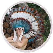Indian 021 Round Beach Towel