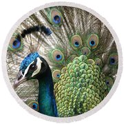Indian Blue Peacock Puohokamoa Round Beach Towel