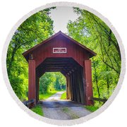 Indian Camp Covered Bridge Round Beach Towel