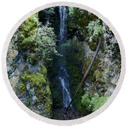 Indian Canyon Waterfall Round Beach Towel
