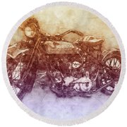 Indian Chief 2 - 1922 - Vintage Motorcycle Poster - Automotive Art Round Beach Towel