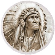 Indian Chief With Headdress Round Beach Towel