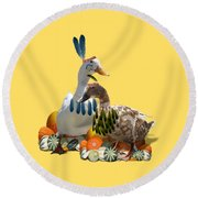 Indian Ducks Round Beach Towel