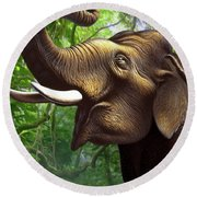 Indian Elephant 1 Round Beach Towel