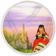 Indian Full Moon Southwest Sunset Round Beach Towel