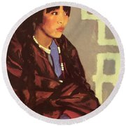 Indian Girl Of San Ildefonso 1917 Round Beach Towel