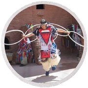 Indian Hoop Dancer Round Beach Towel