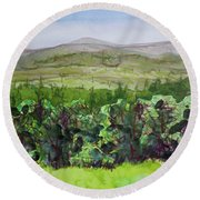 Hour Pond Mountain, Indian Lake Overlook Panorama 2 Round Beach Towel