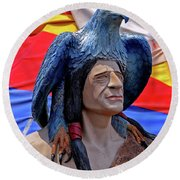 Indian Leader 001 Round Beach Towel