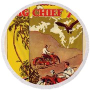 Indian Motorcycle Big Chief 74 Round Beach Towel