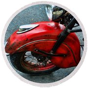 Indian Motorcycle Fender In Red Round Beach Towel