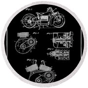 Indian Motorcycle Patent 1943 Black Round Beach Towel
