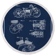 Indian Motorcycle Patent 1943 Blue Round Beach Towel