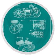 Indian Motorcycle Patent 1943 Green Round Beach Towel