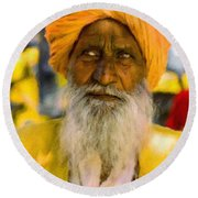 Indian Old Man Round Beach Towel
