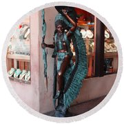 Indian On The Square Sante Fe Nm Round Beach Towel