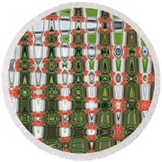 Indian Paint Pot Flower Abstract Round Beach Towel