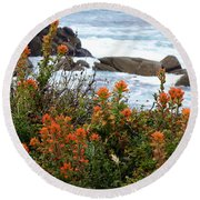 Indian Paintbrush At Point Lobos Round Beach Towel