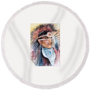Indian Portrait Round Beach Towel