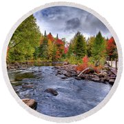 Indian Rapids Footbridge Round Beach Towel
