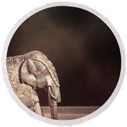 Indian Silver Elephant Round Beach Towel