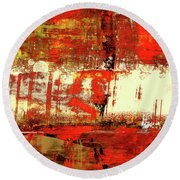 Indian Summer - Red Contemporary Abstract Round Beach Towel