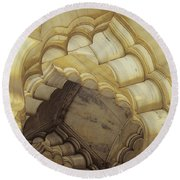 Indian Temple Arches Round Beach Towel