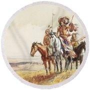 Indian War Party Round Beach Towel