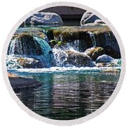 Indian Wells Waterfall Round Beach Towel
