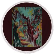 Indian Woman Round Beach Towel