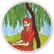 Indian Woman With Weeping Willow Round Beach Towel