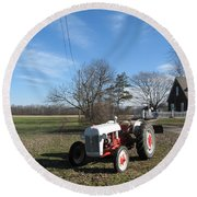 Indiana Hwy 63 South Vintage Ford Tractor Color Version Round Beach Towel