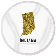 Indiana Map Art Abstract In Gold Yellow Round Beach Towel