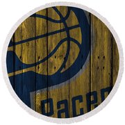 Indiana Pacers Wood Fence Round Beach Towel