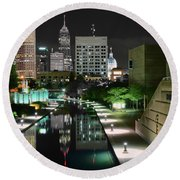 Indianapolis Canal Night View Round Beach Towel