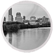 Indianapolis Charcoal Panoramic Round Beach Towel