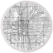 Indianapolis Indiana Usa Light Map Round Beach Towel