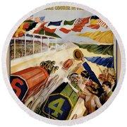 Indianapolis Motor Speedway Vintage Poster 1909 Round Beach Towel