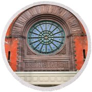 Indianapolis Union Station Building Round Beach Towel