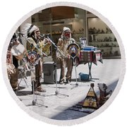 Indians In Greece Round Beach Towel