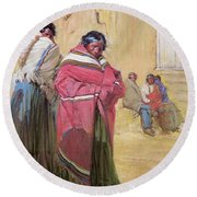 Indians Outside Taos Pueble Round Beach Towel
