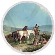 Indians Playing Cards Round Beach Towel
