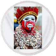 Indigenous Woman L A Round Beach Towel