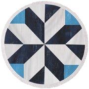 Indigo And Blue Quilt Round Beach Towel